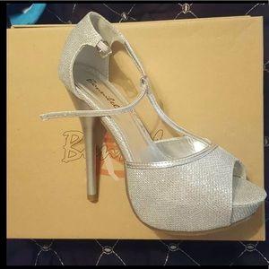 Sparkling Silver Platform High Heels